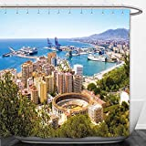 Beshowere Shower Curtain Landscape Aerial View of Malaga with Bullring and Harbor Spain Traditional European City Multicolor