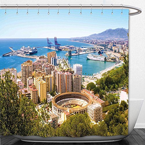 Beshowere Shower Curtain Landscape Aerial View of Malaga with Bullring and Harbor Spain Traditional European City Multicolor by Beshowere