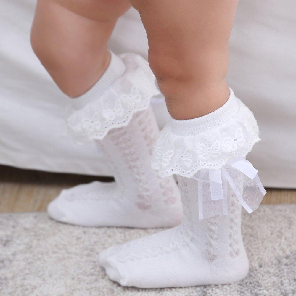 Beautop Kid Girls calzini per bambini calze al ginocchio con pizzo bambino scaldamuscoli cotone principessa Style rosa pink S