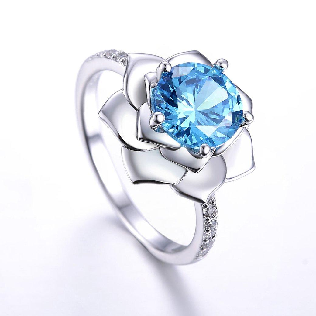 Zetaur 925 Sterling Silver Created Blue Topaz Sparkles Lotus Flower Ring