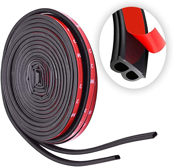 Car Weather Stripping Universal Self Adhesive Auto Door Rubber Draft Seal Strip Car Window Door Engine Cover Noise Insulation(51/100 Inch Wide X 1/5 Inch Thick X2 Rolls16.5 Ft Long Total 33 Feet Long
