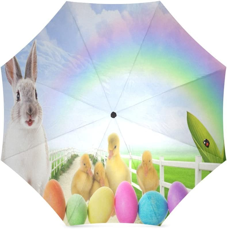 Custom Rabbit and little ducks at Easter Coloured eggs Compact Travel Windproof Rainproof Foldable Umbrella