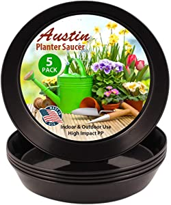 AS18 Case of 5 Austin Planter Black Polypropylene for Indoor and Outdoor Plant use, Made in USA, Flower Pot Saucer, Planter Drainage Saucer(16.3 inch Base Dia.)