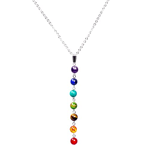 7 Chakra Necklace With Real Stones – Mala Y-Shaped Chain Necklaces