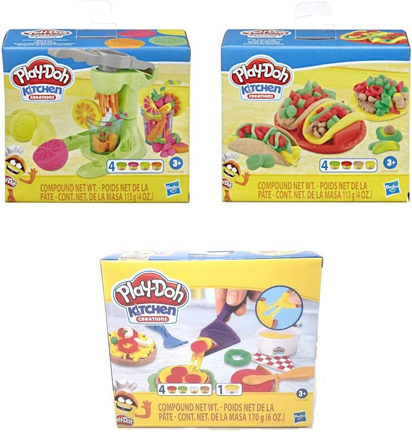 Play Doh Kitchen Creations Foodie Favorites Assortment Bundle: Juice Squeezin' Toy Juicer Play Set + Taco Time Play Set + Cheesy Pizza Play Set