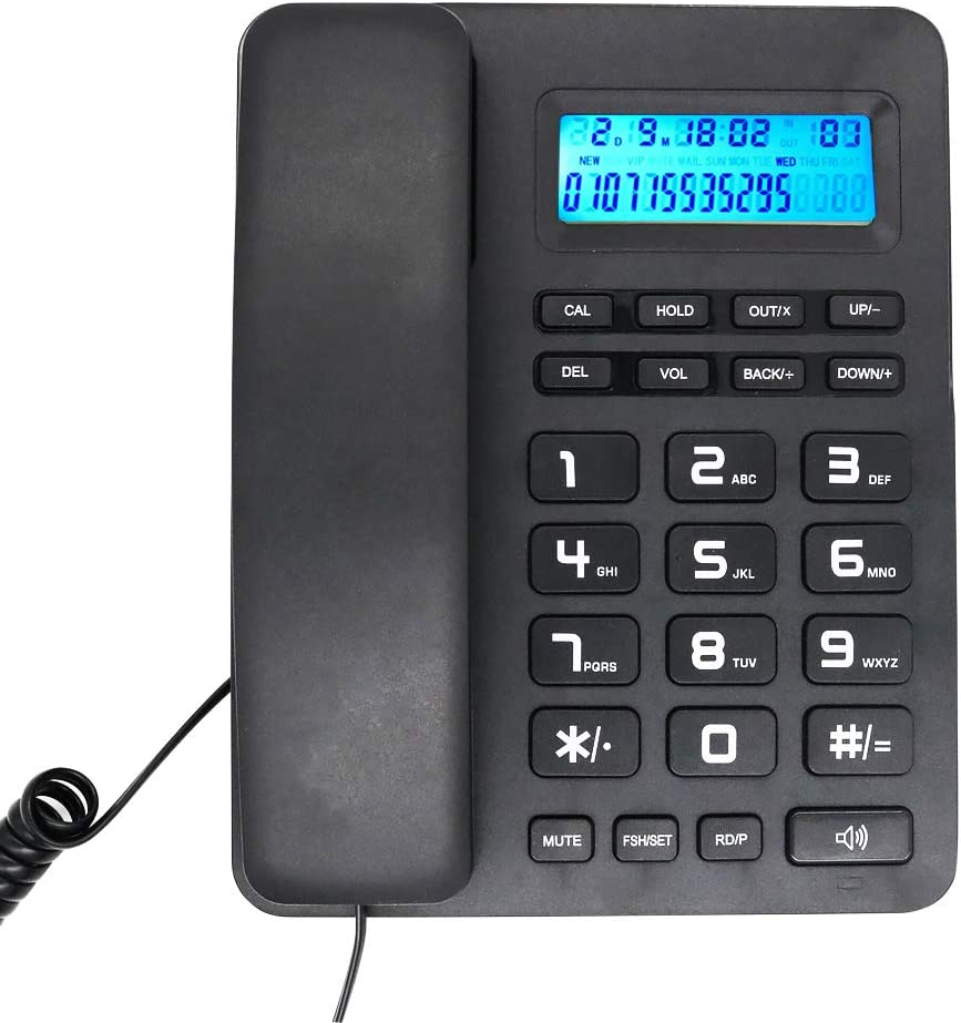 HePesTer Corded Phone for Home Office, P-33 Basic Landline Phone with Caller ID, Basic Calculater Speakerphone Mute Function (Black)