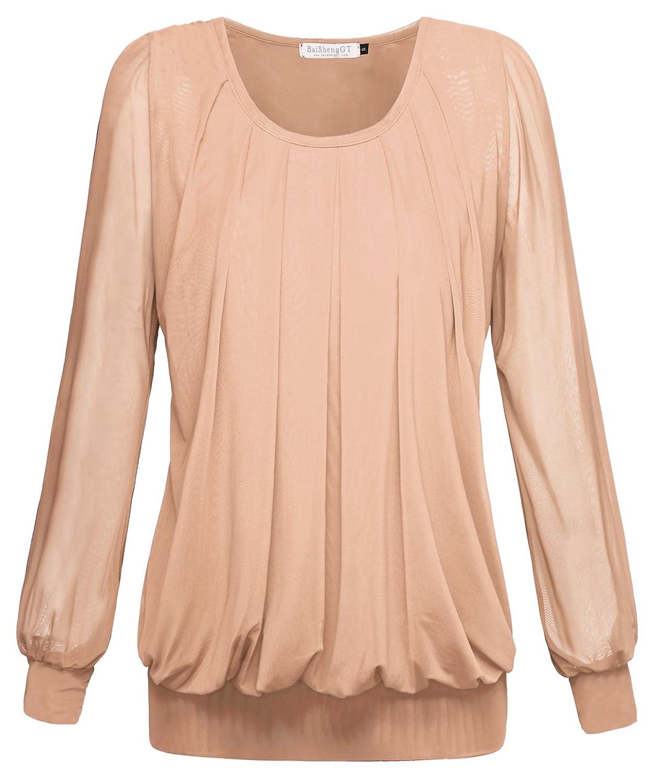BaiShengGT Damen Shirt Rundhals Falten Shirt Stretch Tunika: Amazon.de:  Bekleidung