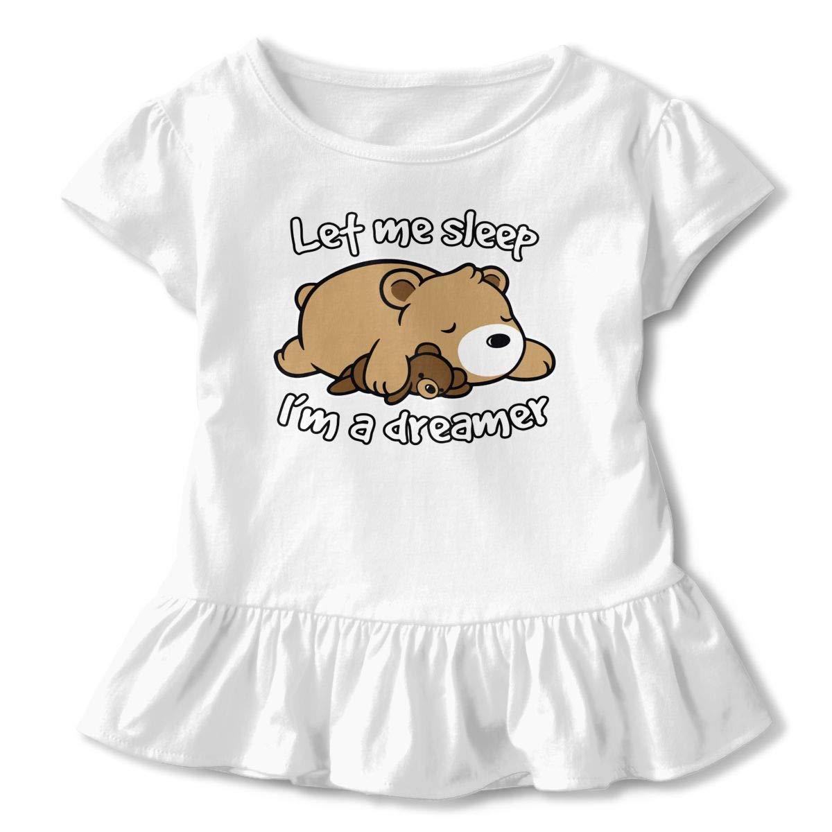 Let Me Sleep Im A Dreamer Baby Flounces Skirts Girls Novelty T Shirt Dress Cotton Outfits