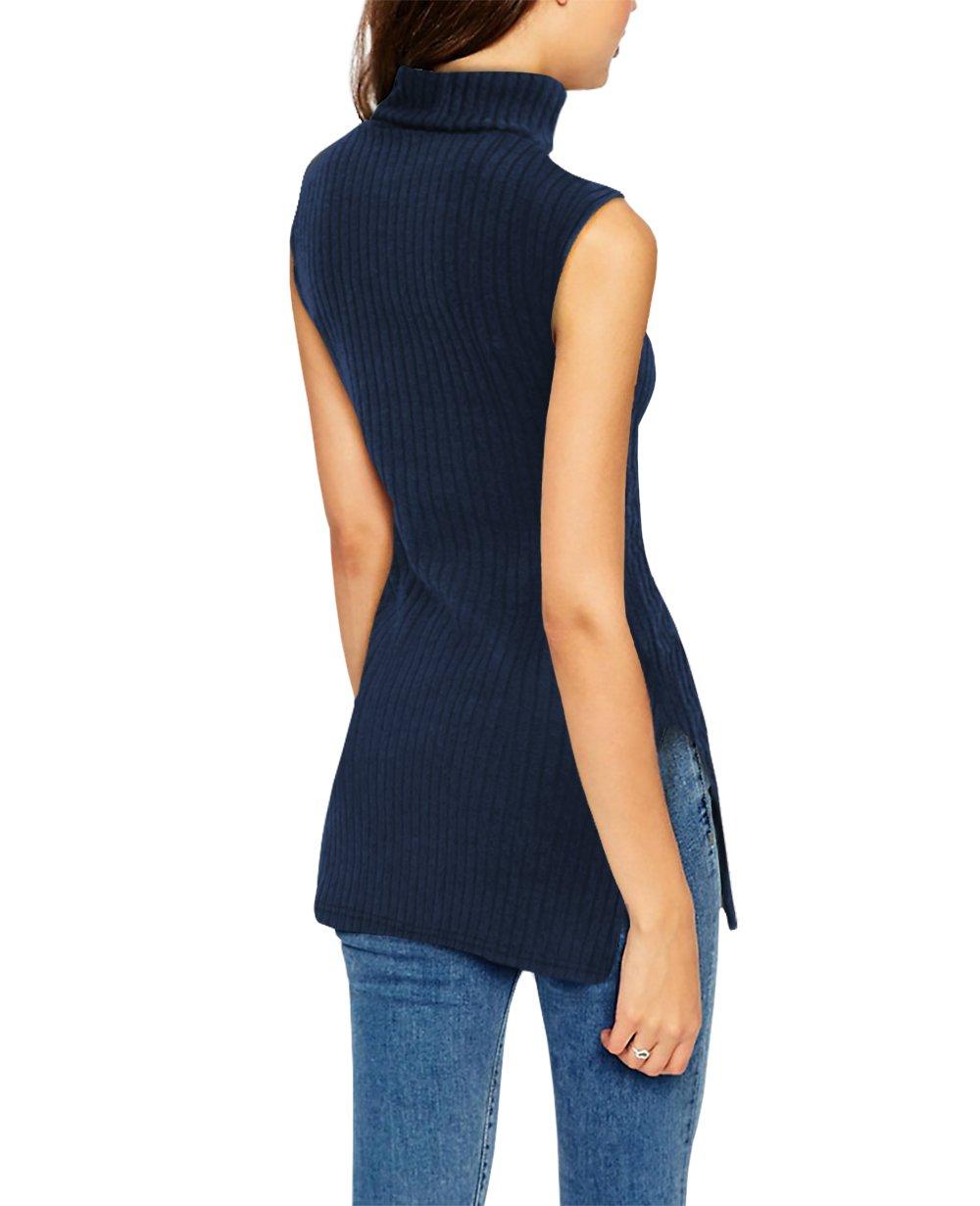 Womens Super Comfy Sleeveless Turtleneck Tunic Sweater KT45224 X 03126 Navy 2X