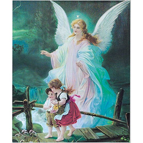 Dicksons Guardian Angel Watching Over Children Blue Glow 10 x 12 Wood Wall Sign Plaque
