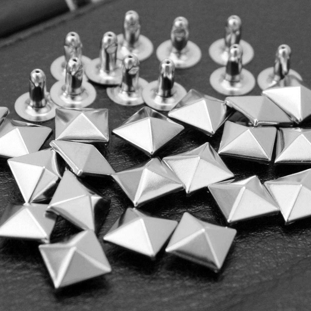 100x Silver Pyramid Rivets Studs DIY para hacer zapatos de cuero con cinturón 9 * 9mm Nuevo