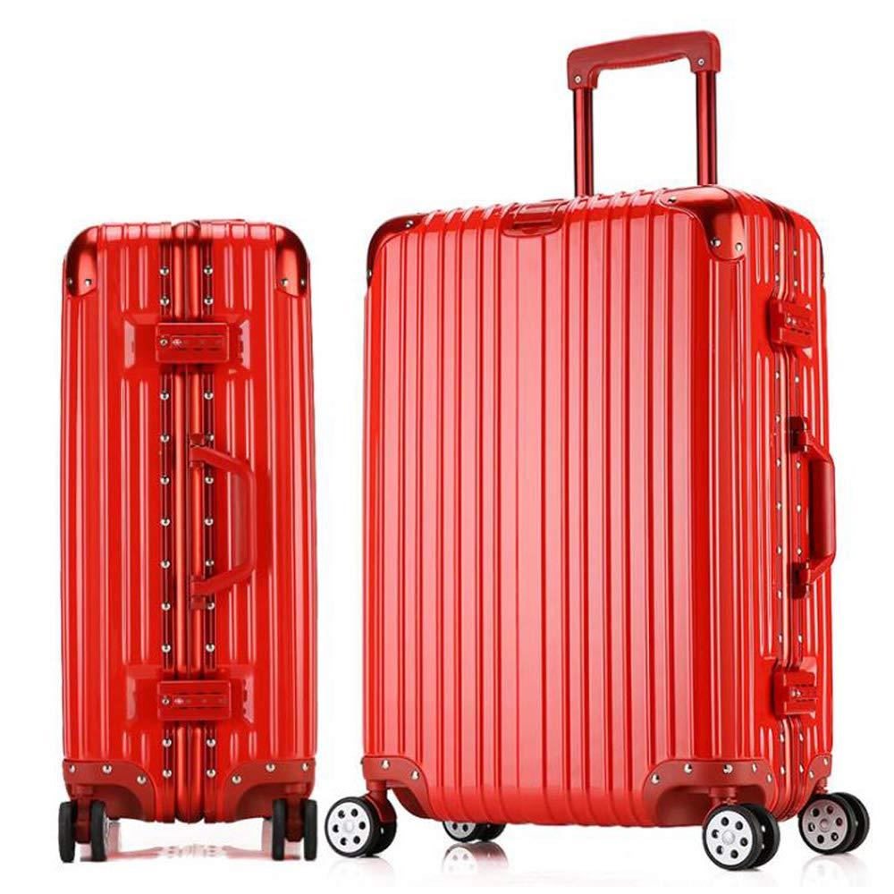 4つの車輪が付いているスーツケースの軽量の耐久の堅い貝の荷物のスーツケース旅行袋。 耐摩耗性、盗難防止、雷保護、耐衝撃 46*27*71cm B07SNDF3YM Red