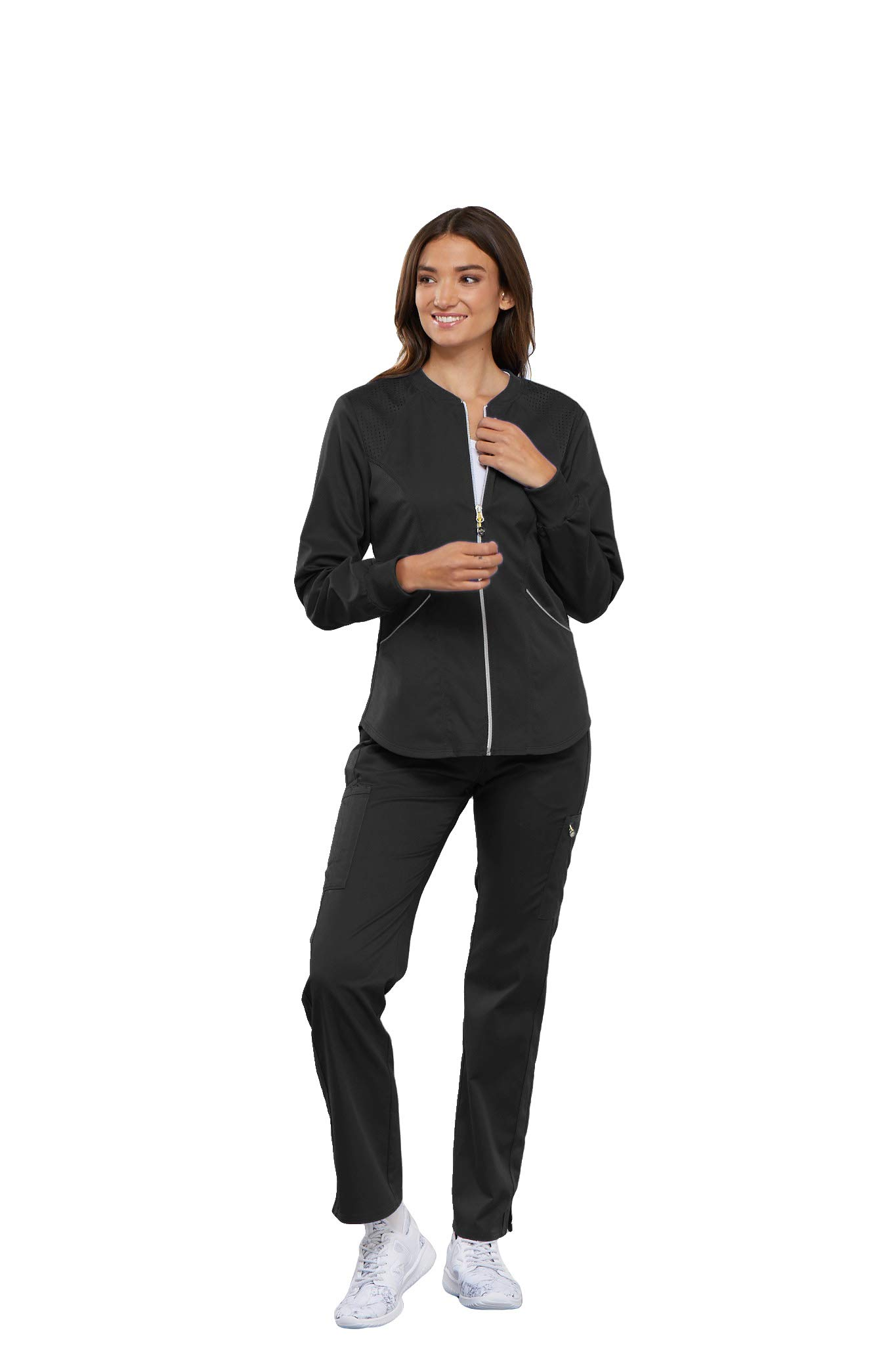 Cherokee Women's Luxe Sport Zip Front Warm-up Jacket, Pewter, 2XL
