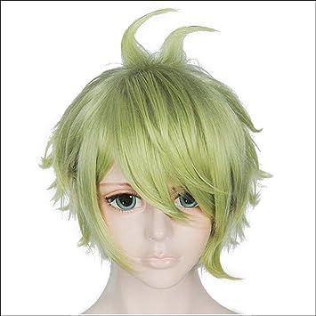 Amazon Com Anogol Hair Cap Short Layered Light Green Cosplay Wig