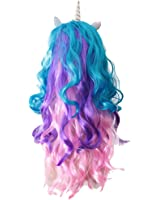 Jili Online Women Unicorn Horn Long Curly Wavy Hair Wigs For Hallowmas Party Costume
