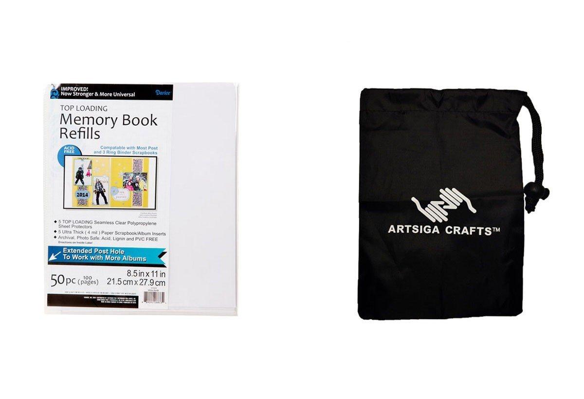 Darice Scrapbook Memory Album Page Protectors 8.5X11 50Pk (5 Pack) 121370 Bundle with 1 Artsiga Crafts Small Bag by Darice DIY Crafts Supplies (Image #1)