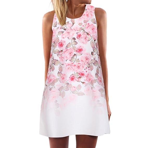 Tefamore Vestidos Mini Vestido Corto, Sin Mangas Rectos Florales Estampado Cóctel Vestido Casual