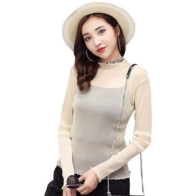Elegante Camiseta De Manga Larga Hueco Transparente Señoras Blusa Bastante De Las Camisa De Cuello Redondo