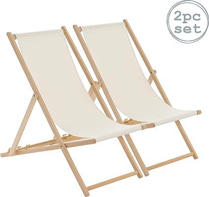 Harbour Housewares Tumbona reclinable y Plegable - Ideal para Playa y jardín - Estilo Tradicional - Crema - Pack de 2: Amazon.es: Jardín