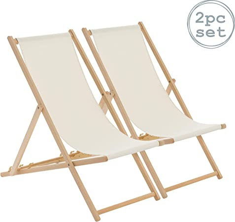 Harbour Housewares Tumbona reclinable y Plegable - Ideal para Playa y jardín - Estilo Tradicional - Crema - Pack de 2: Amazon.es: Jardín