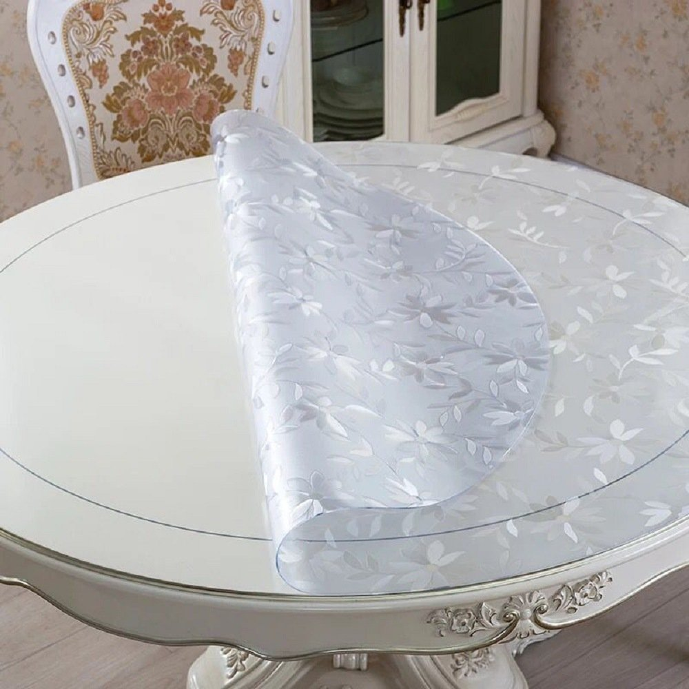 LovePads Multi Size Custom Round 2mm Thick Cosmos PVC Table Protector Cover Tablecloth 60 Inches (Dia. 152.4cm) by DiscoverDecor (Image #3)