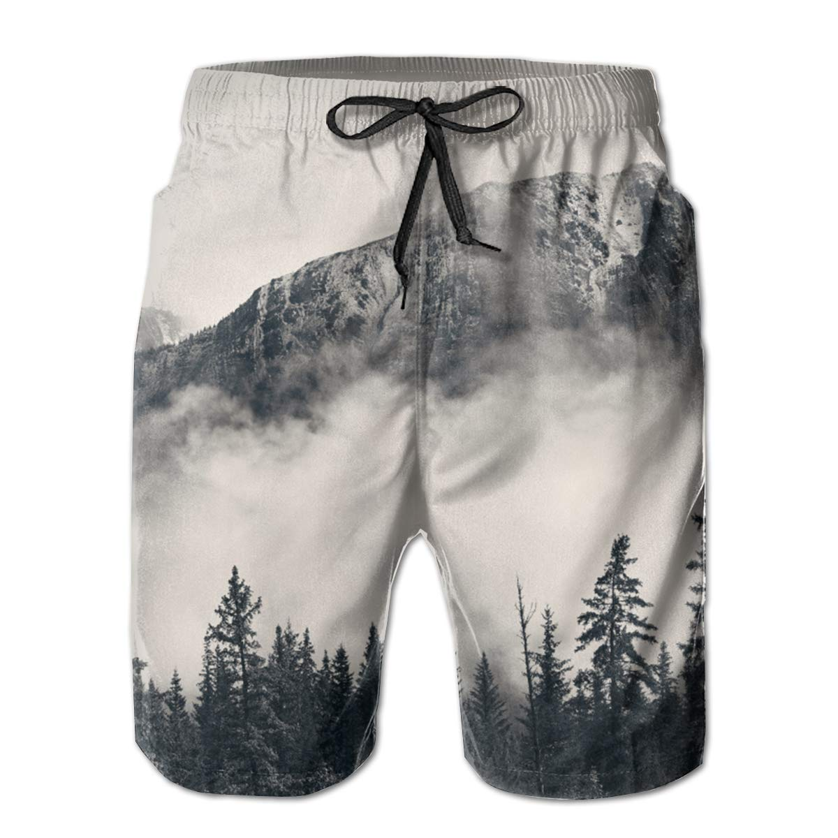 FASUWAVE Mens Swim Trunks Canadian Smokey Mountain Cliff Quick Dry Beach Board Shorts with Mesh Lining