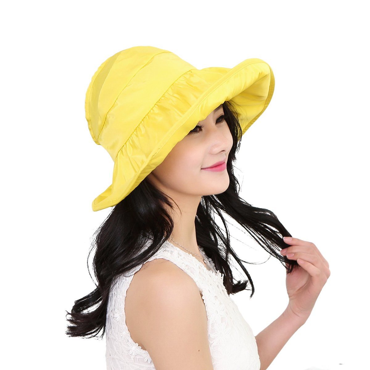 3399c26fb94 OULII Fashion Wide Brim Sun Hat Summer UV Protection Thin Hat 2 in 1 Beach Sun  Hat (Yellow) at Amazon Women s Clothing store