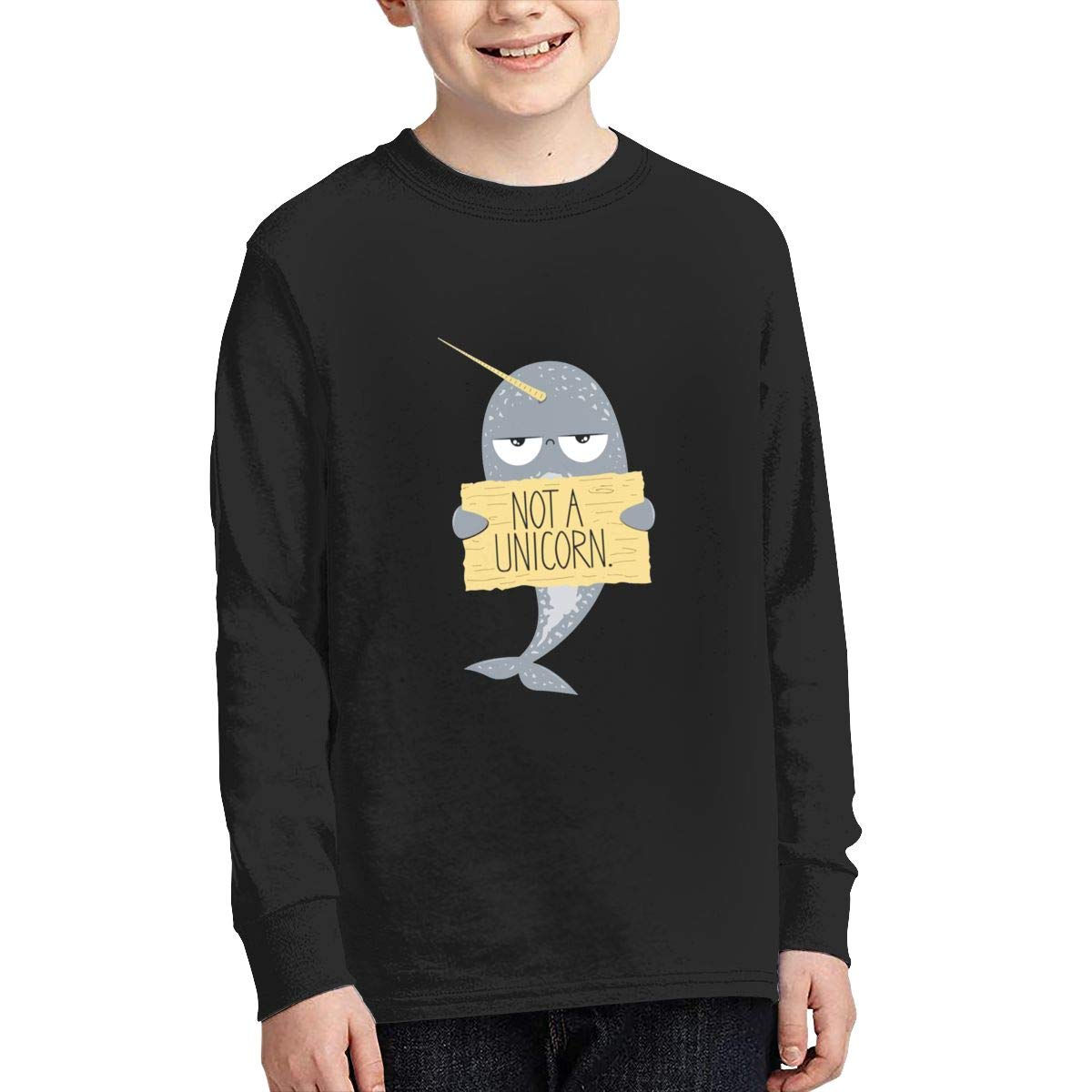 ZHAN-pcc I M Not A Unicorn Narwhal Youth Fashion Long Sleeve Round Neck Tees