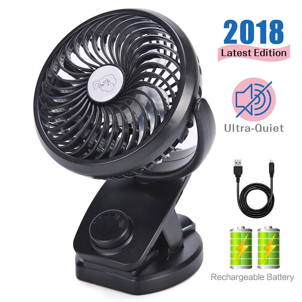 Mini Fan with Clip 4400mAh Rechargeable Battery Operated USB Desk Portable Personal Fan for Office,Home,Travel,Camping,Baby Stroller(Black) by REENUO