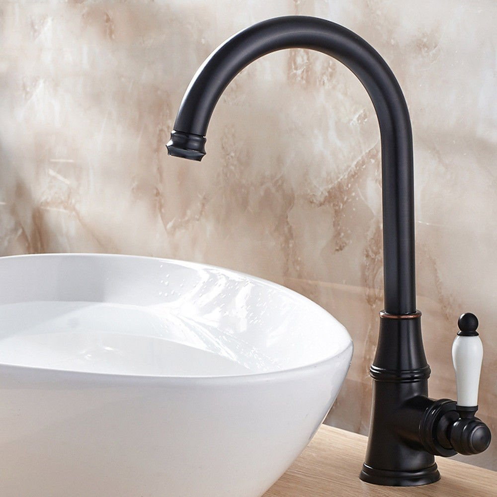 Black Hlluya Professional Sink Mixer Tap Kitchen Faucet Faucets copper antique 360 degree swivel faucet retro hot & cold water faucet single hole on the basin of water taps, Black