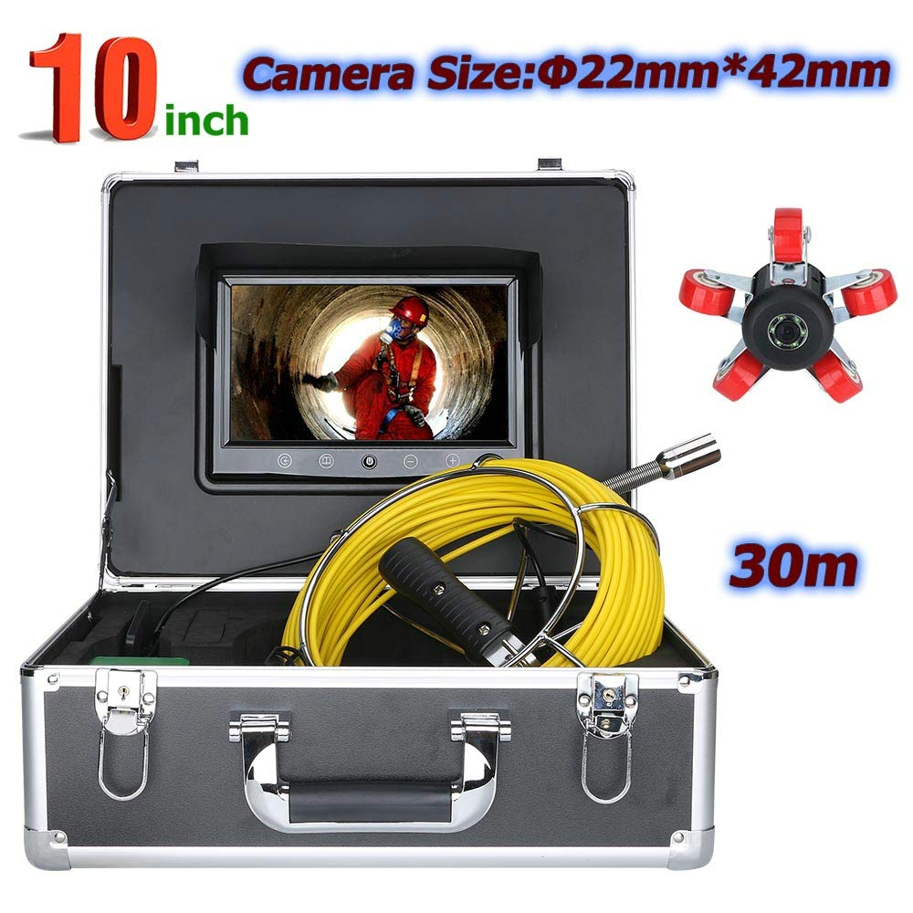 WESEAZON 30M 10 inch 22mm Industrial Pipe Sewer Inspection Video Camera IP68 Waterproof Drain Pipe Sewer Inspection Camera System 1000 TVL Camera with 6W LED Lights