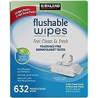 Kirkland Signature Moist Flushable 632 Premoistened Wipes new with Eco Flush Technology