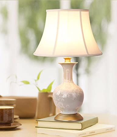 QMPZG-Lámpara de mesa de cerámica, porcelana china azul y ...