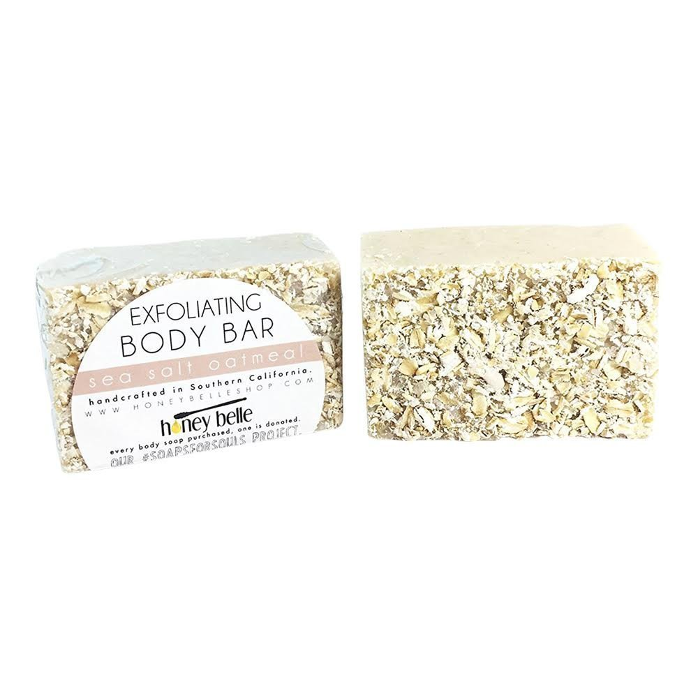 All Natural Exfoliating Sea Salt Oatmeal Body Cleansing Soap Bar - For All Skin, Sensitive, Eczema Treatment - By Honey Belle
