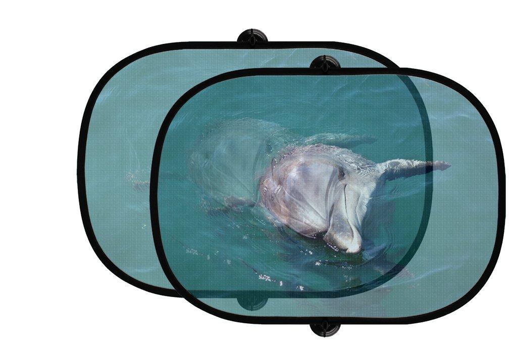 イルカ海動物2個折りたたみ式自動ウィンドウサンシェードメッシュ B0758YHYPC