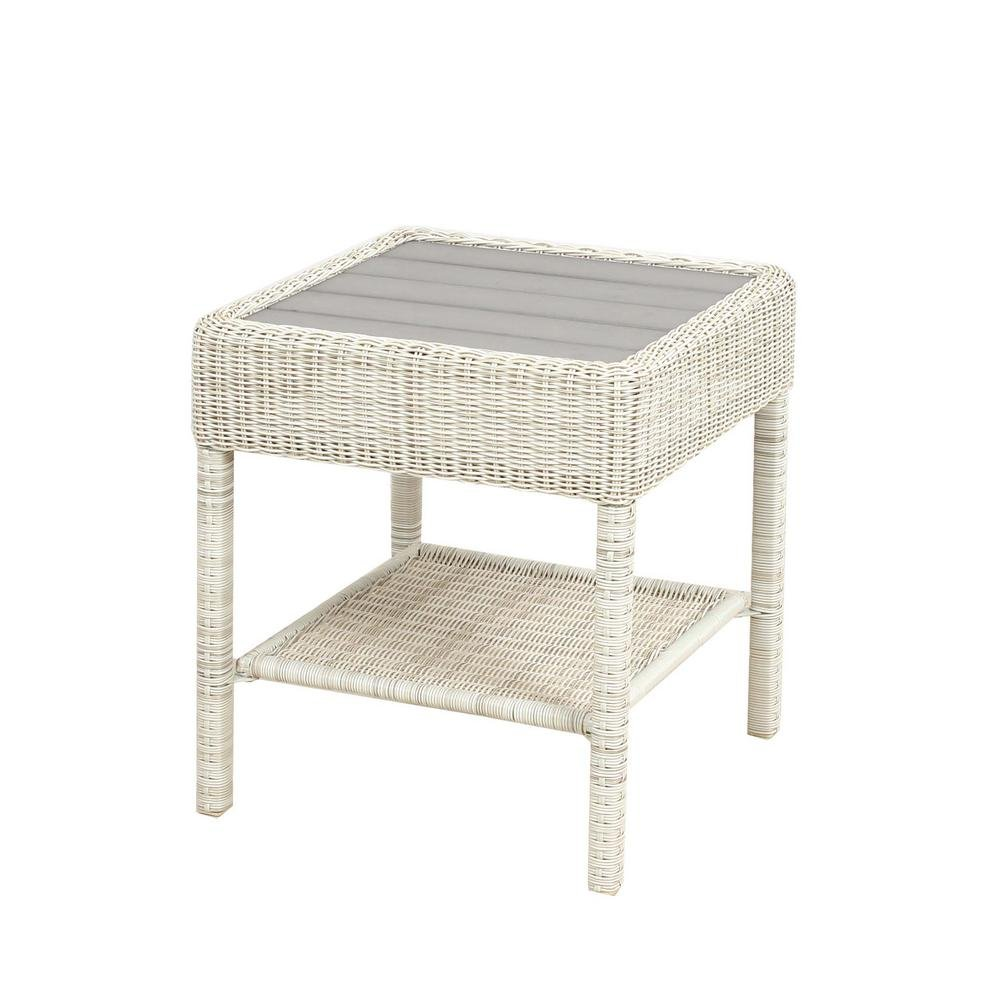 Hampton Bay Park Meadows Off-White Wicker Outdoor Accent Table
