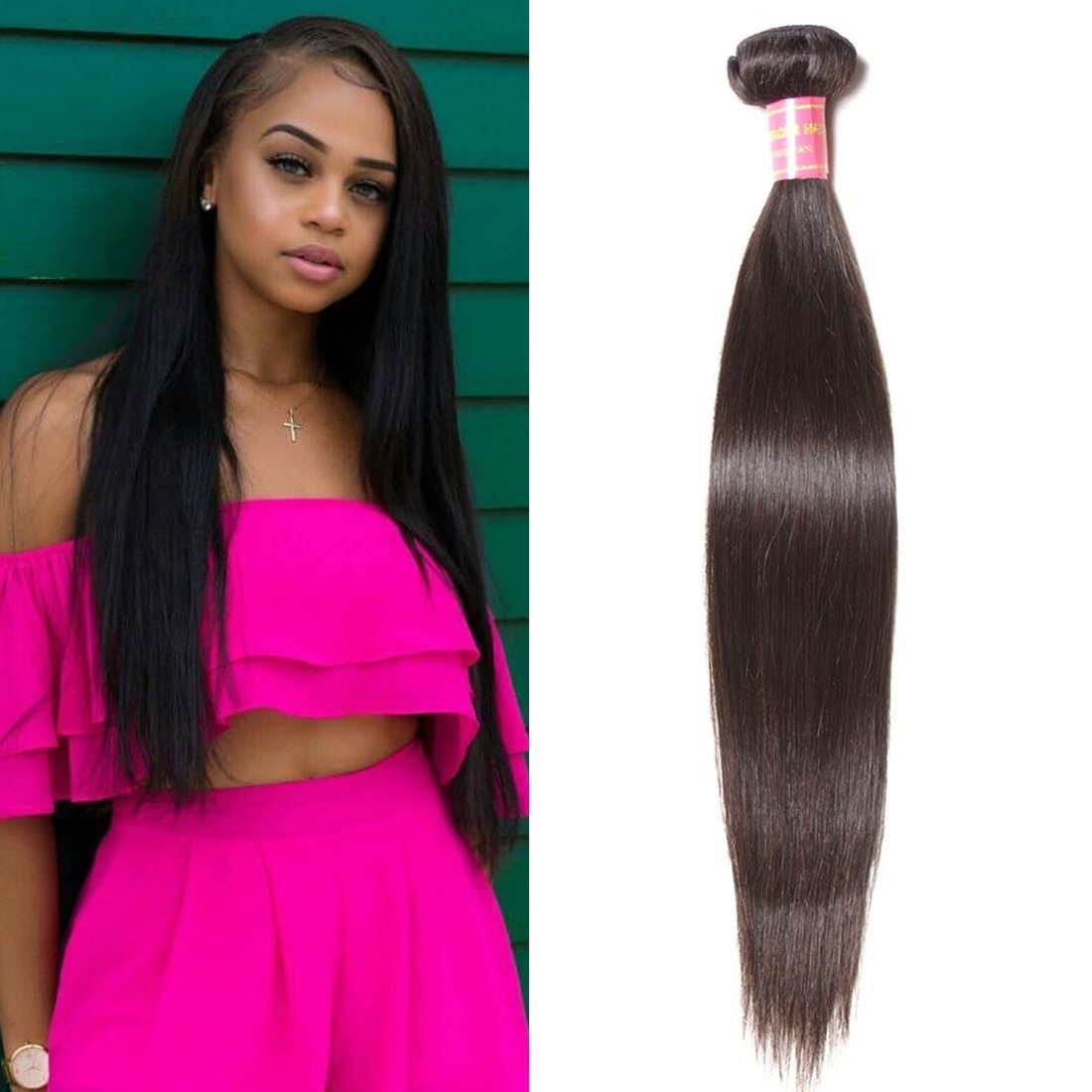 """YIROO 7A Brazilian Virgin Straight Hair Weave 1 Bundle 100% Unprocessed Brazilian Virgin Human Hair Weave Extensions Natural Color 95-100g/pc (16"""")"""