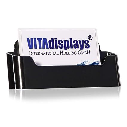 Vitadisplays Visitenkartenhalter Visitenkartenständer Visitenkarten Aufsteller Visitenkartenspender Im Din A7 Querformat Schwarz