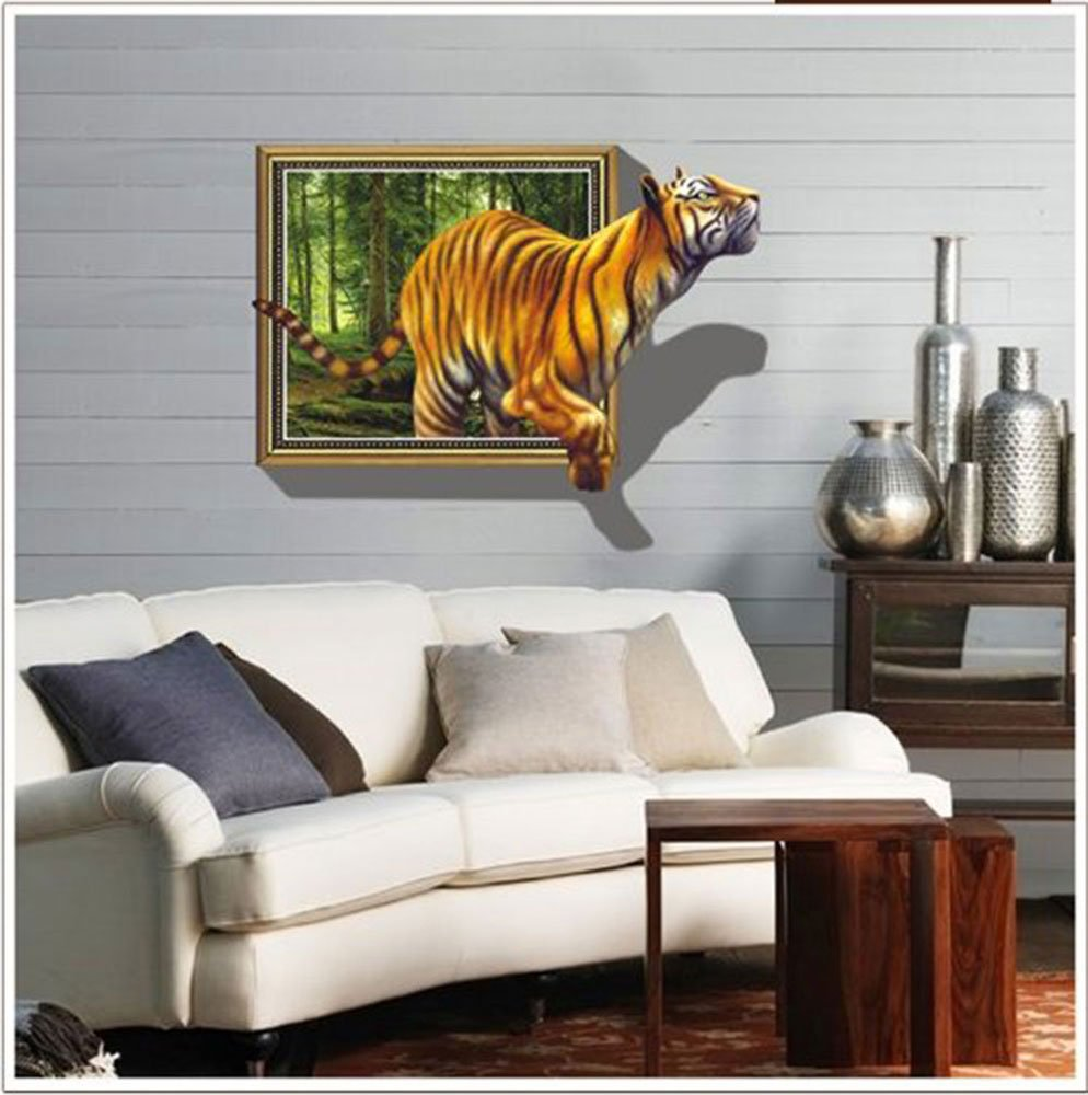 Amazon.com: Kappier Giant 3D Tiger Jumping Out Of Jungle Peel U0026 Stick Wall  Decals: Home Improvement Part 89