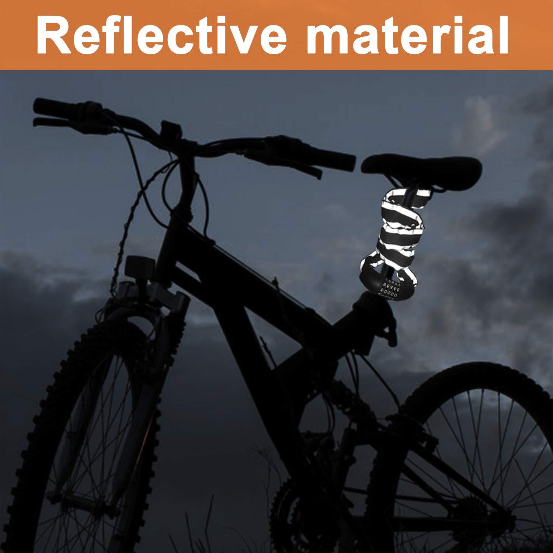 Candado de Combinaci/ón de Bicicleta Candado de Cable Cadena Plegable Bloqueo de Contrase/ña FishOaky Candado de Bicicleta
