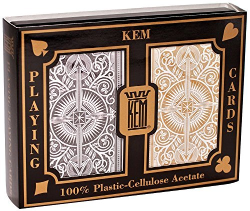 KEM Arrow Poker Size Playing Cards: Black and Gold, Wide Jumbo Index (2-Pack of 2)