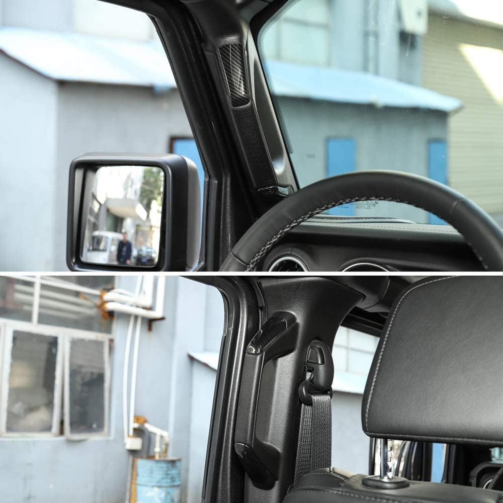 RT-TCZ A/&B Pillar Grab Handles Decoration ABS Trim Cover for 2018-2020 Jeep Wrangler JL 4 Door Silver Color 8 PCS