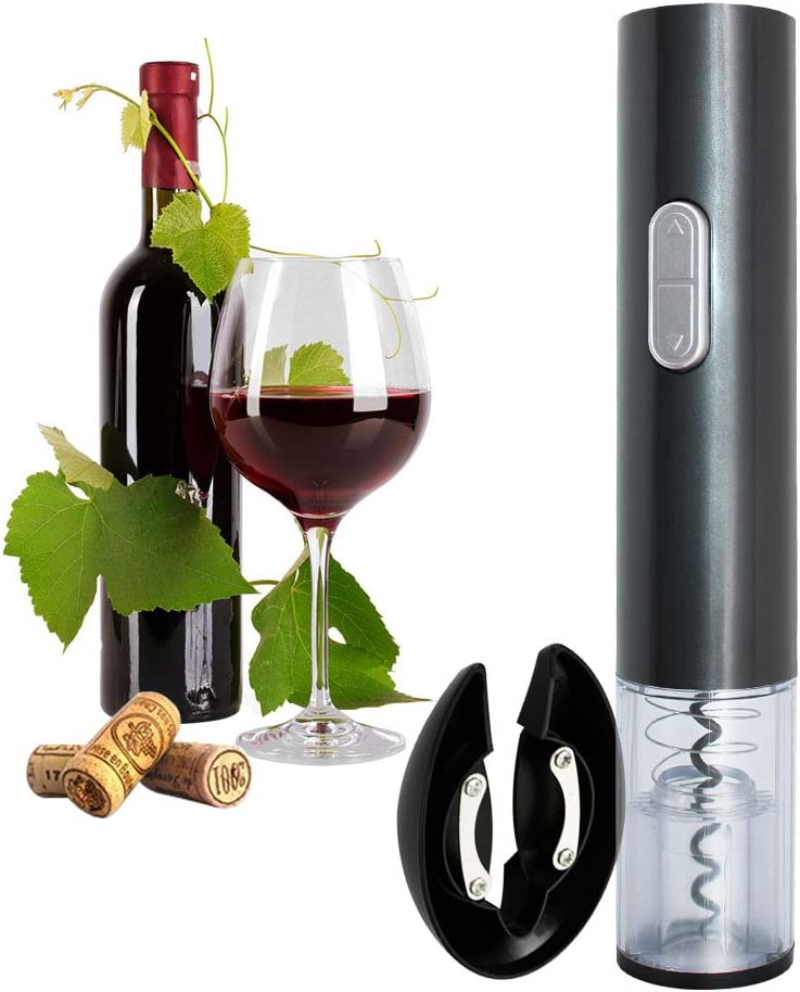 Faciaa Electric Wine Opener, Electric Corkscrew,Wine Bottle Opener Corkscrew, Automatic Corkscrew dark grey