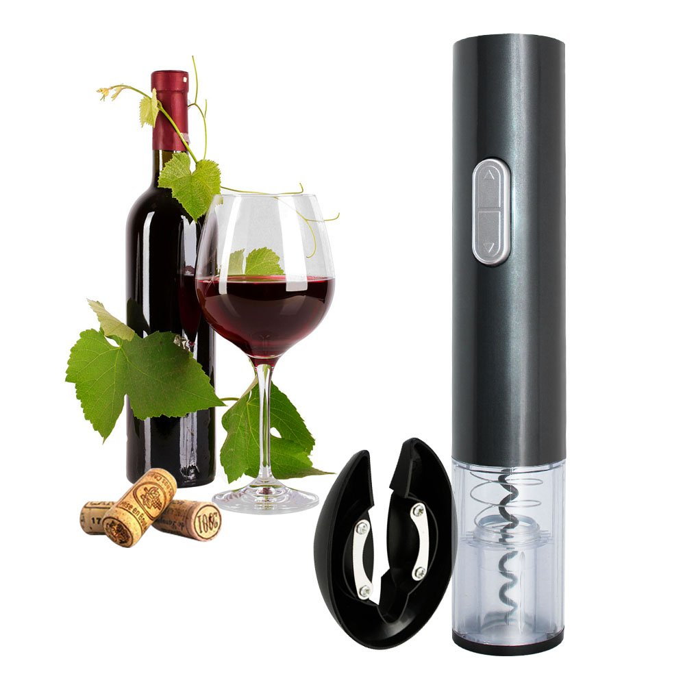 Faciaa Electric Wine Opener, Electric Corkscrew,Wine Bottle Opener Corkscrew, Automatic Corkscrew (Dark Grey)