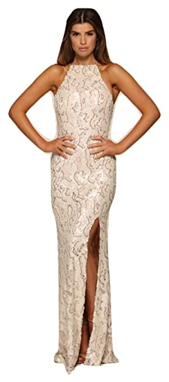 Honor Gold Luxe Harley Sequin Maxi Evening Prom Gown (Small (UK 8 / 10