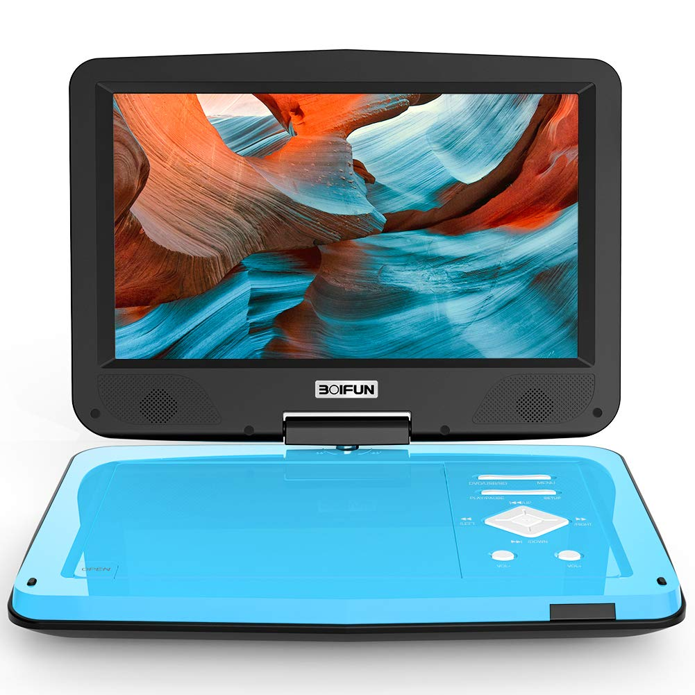BOIFUN 12.5'' Portable DVD Player with 5 Hours Rechargeable Battery, 10.5'' HD Swivel Screen, Dual Earphone Jack & High Volume, Support CD/DVD/SD Card/USB, Region-Free, Blue by BOIFUN