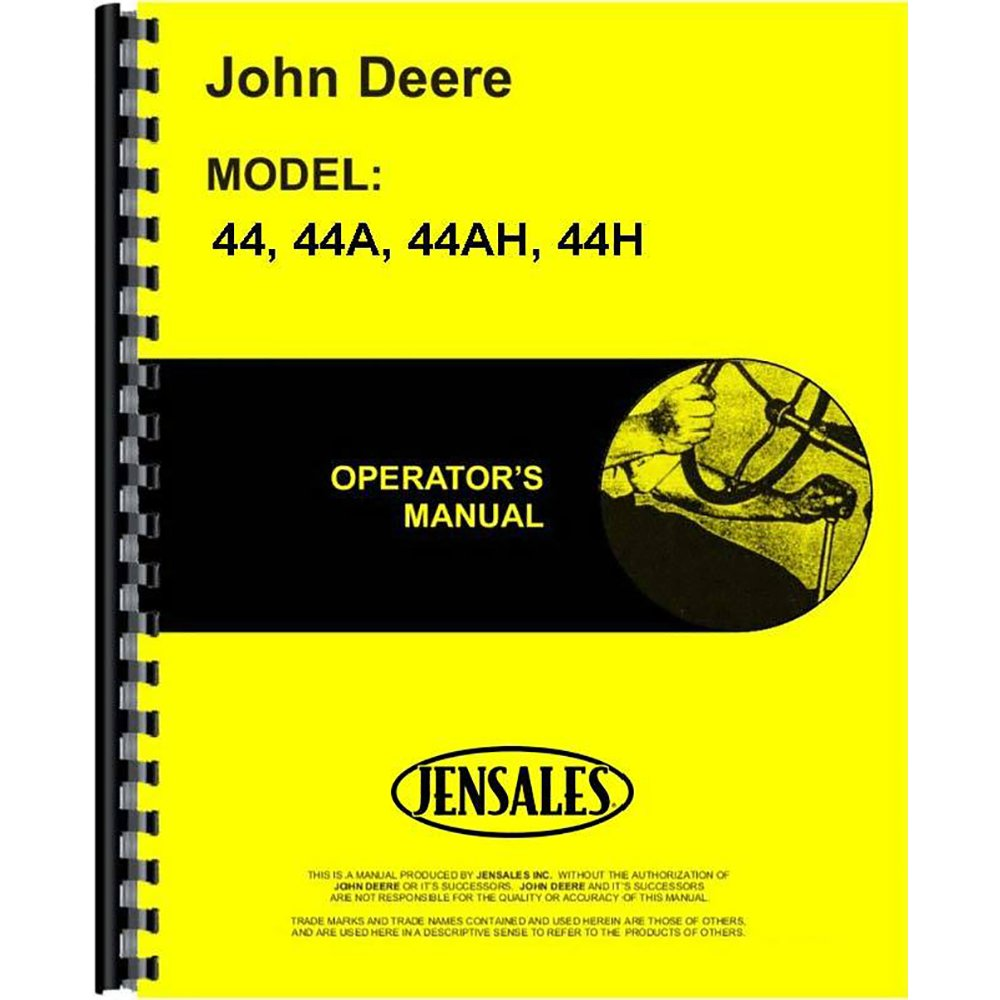 Amazon.com: Operator's Manual for John Deere 44 44A 44AH 44H Plow:  Industrial & Scientific