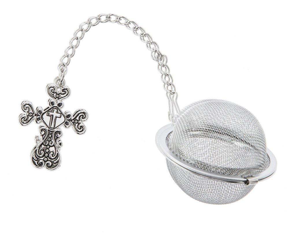 Christian Cross Charm Tea Infuser Ball - By Ganz