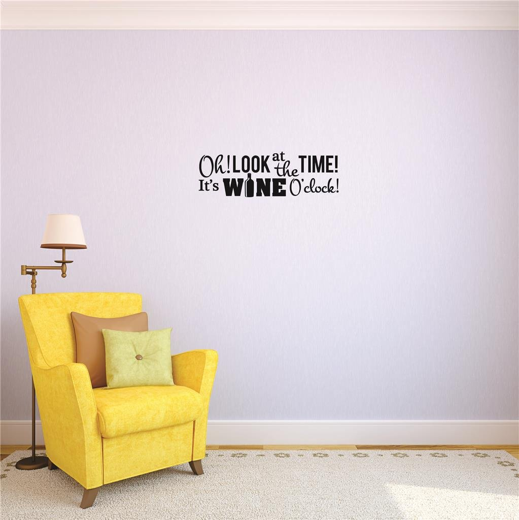 Look At The Time Wall Art Size: 16 Inches X 40 Inches Color: Black 16 x 40 Its Wine Oclock Design with Vinyl US V JER 2384 3 Top Selling Decals Oh