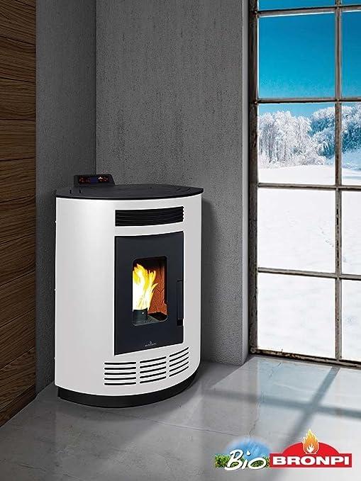 """bronpi – Estufa de pellets 8 kW Mod.""""Nina Color Blanco y"""